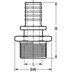 Adapter part with male thread