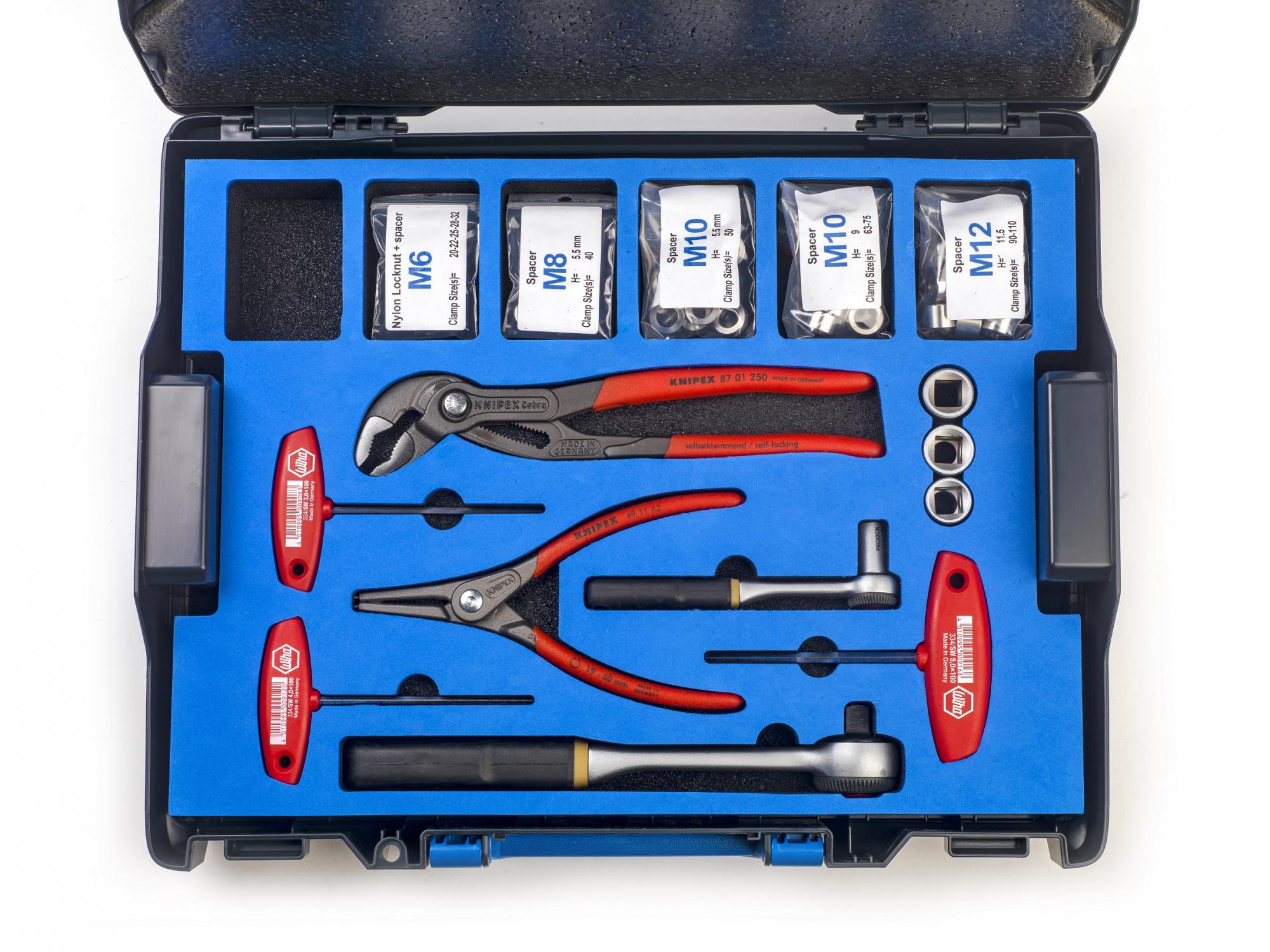 Werkzeugkoffer für Klemmverbinder offen